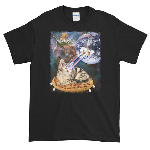 Space Cat on Pizza Blasting Earth With Laser Eyes T-shirt