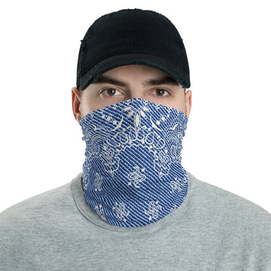 Blue Paisley Face Mask, Washable Paisley Neck Gaiter, Light Blue Paisley Bandana, Paisley Face Shield