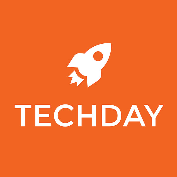"orange logo with rocket and ""Tech Day"" in writing,  below"