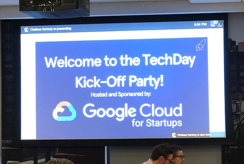 image of a screen announcing the beginning of NY Tech Day Kickoff Party 2019