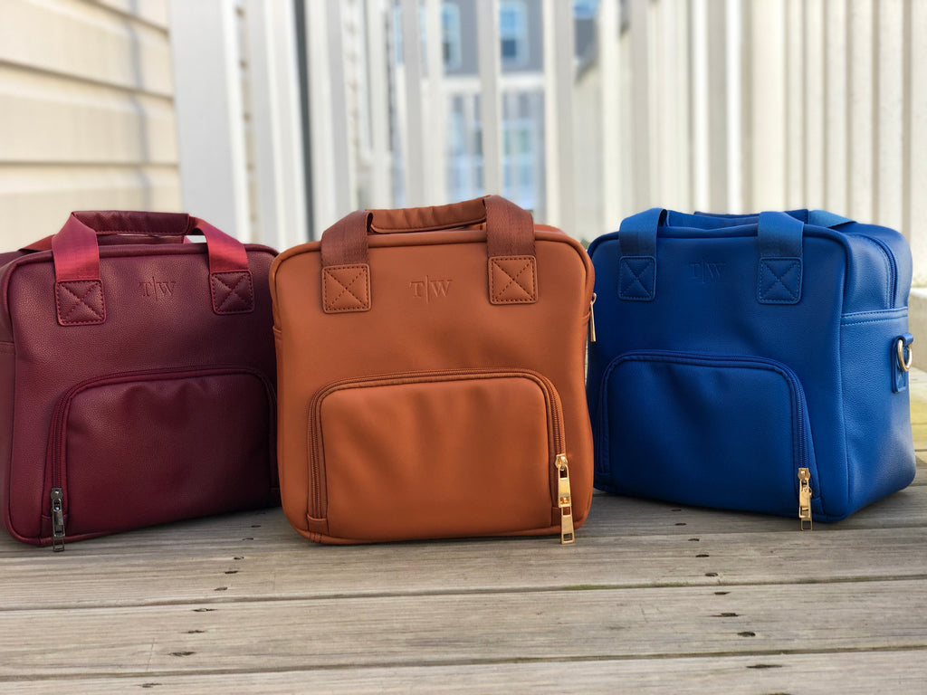 3 professional lunch totes; red, brown and blue