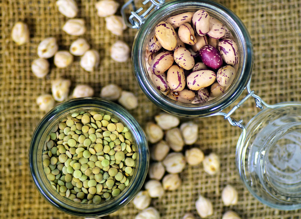 Beans and legumes in mason jars