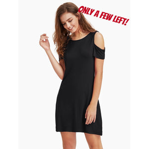 Open Shoulder Tee Dress - Black *Limited Quantity*