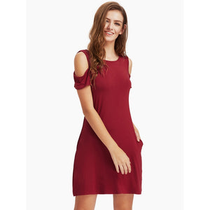 Open Shoulder Tee Dress - Burgundy *Limited Quantities*