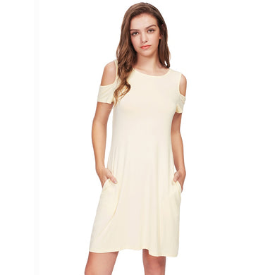 Open Shoulder Tee Dress - Beige