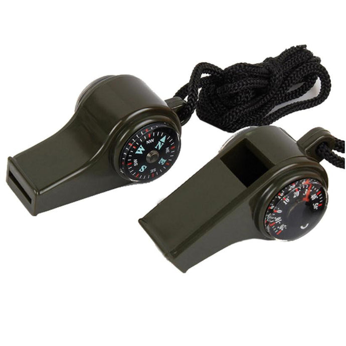 3 in 1 Emergency Whistle with Compass & Thermometer