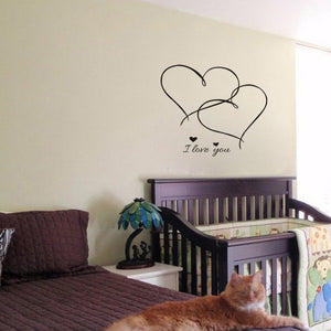 """I Love You"" with Hearts Wall Sticker - Decal"