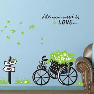 """All You Need Is Love"" Quote with Bicycle Wall Sticker - Decal"