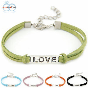 Rope Leather Bracelet with Love Charm (In 5 colors)