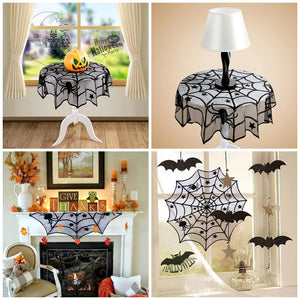 Halloween Spiderweb Black Lace Table Cover