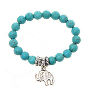 Turquoise Beads with Elephant Bracelet