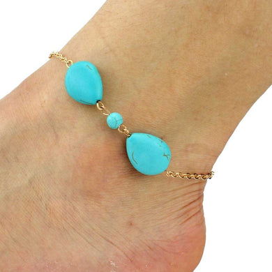 Turquoise Stone Anklet - Jewelry