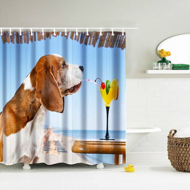 Summertime Cocktail for this Basset Hound - Shower Curtain