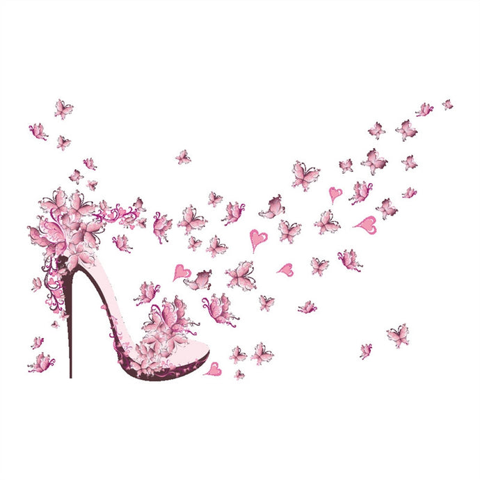 Pink Butterfly Stiletto Wall Sticker - Decal