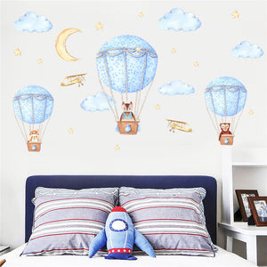 Blue Hot Air Balloons Wall Sticker - Decal
