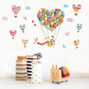 """Love"" Hot Air Balloons with Hearts Wall Sticker - Decal"