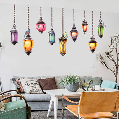 Colorful Pendant Lights Wall Sticker - Decal