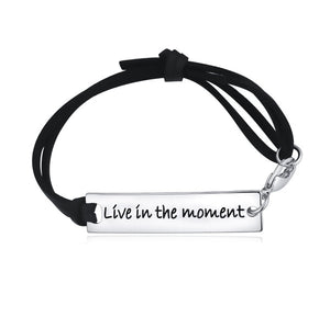 """Live In The Moment"" Leather Strap Bracelet"