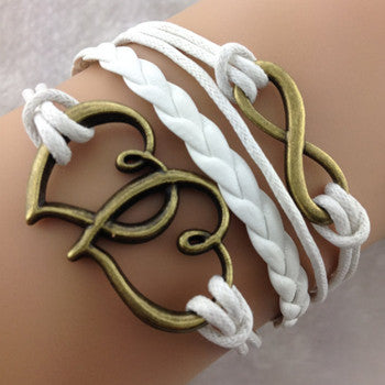 Double White Heart Infinity Bracelet