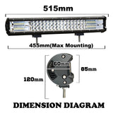 20inch Philips LED Light Bar 3Row Spot Flood Work Driving Lamp Offroad Truck SUV
