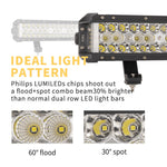 42inch Philips LED Light Bar Triple Row Side Shooter Spot Flood Offroad 4WD