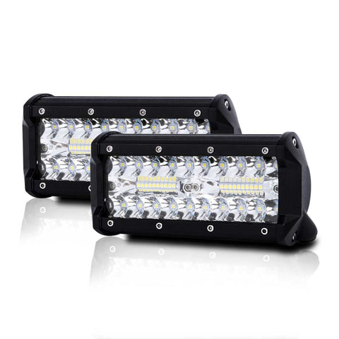 2x 7 inch CREE LED Work Light Bar Spot Flood OffRoad Driving 4WD 4x4 Reverse