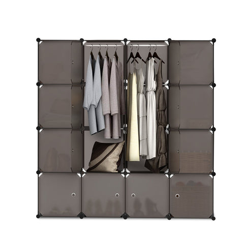 16 Compartment Cube Storage Cabinet DIY Wardrobes Orgainser Portable Sand Brown