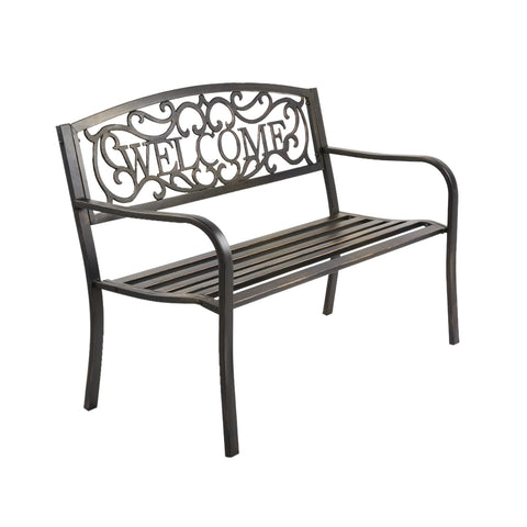 Gardeon Cast Iron Welcome Garden Bench - Bronze