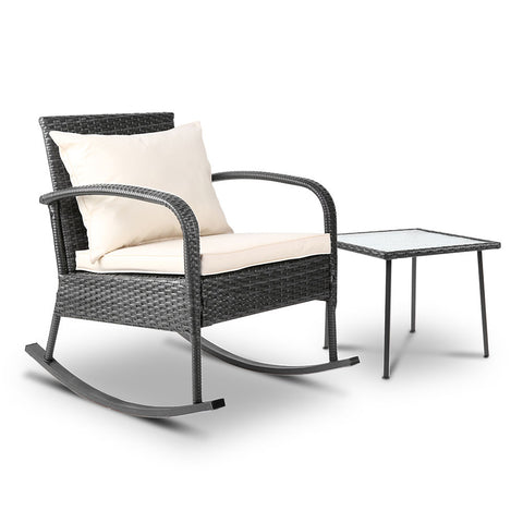 Gardeon Outdoor Chair and table Rocking Set Furniture Grey