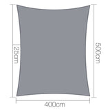 Instahut 4 x 5m Rectangle Shade Sail Cloth - Grey