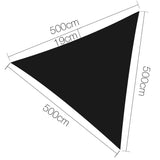 Instahut 5 x 5 x 5m Triangle Shade Sail Cloth - Black