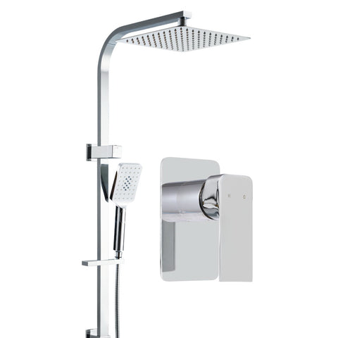 "WELS 10"" Rain Shower Head Set Square Dual Heads Mixer Hand Held High Pressure"