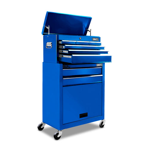 Giantz 8 Drawer Mechanic Tool Box Storage Trolley - Blue