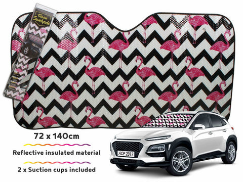 Car Sunshade Zig Zag Flamingo 140 X 72cm