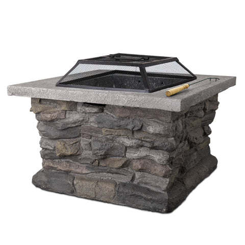Grillz Outdoor Stone Fire Pit Table