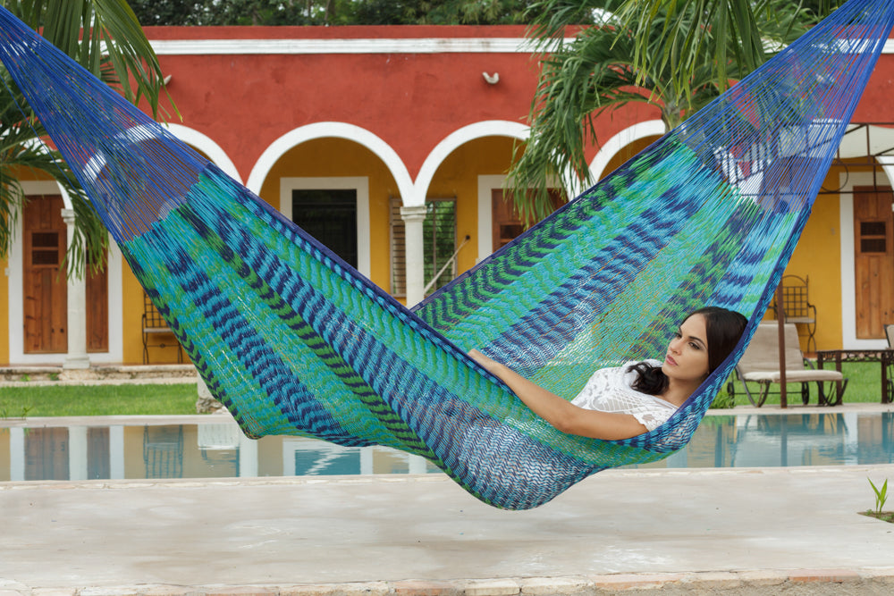 King Size Outdoor Cotton Hammock in Caribe