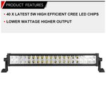 23inch CREE LED Driving Light Bar Offroad Spot Flood Combo Truck 4WD 20/22""