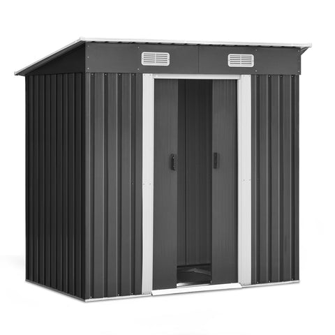 Giantz 1.94 x 1.21m metal Base Garded Shed - Grey