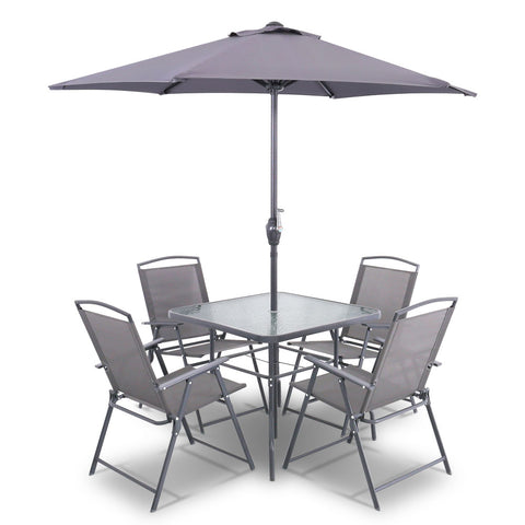 Gardeon 6 Piece Square Outdoor Dining Set - Grey