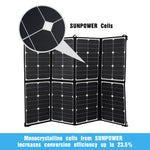 12V 160W Flexible Folding Mono Solar Panel Portable Bag Battery Charging Camping