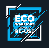 Eco Warriors Choose to Reuse white font on blue splash graphic on black square background