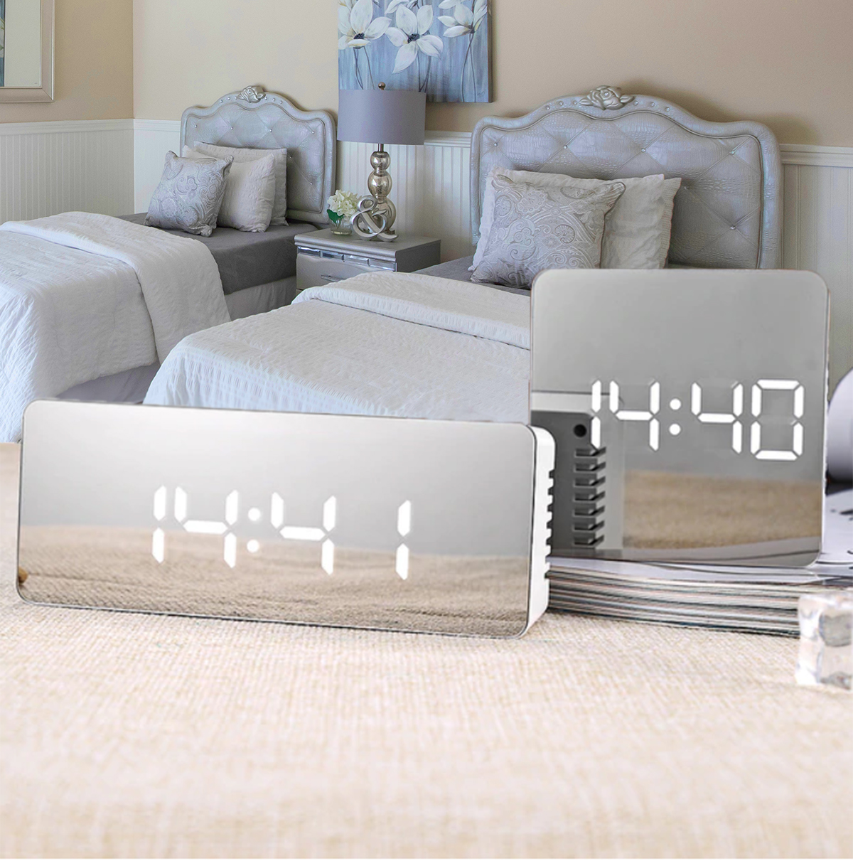Sleek Portable Alarm Clock, Makeup Mirror and Thermometer