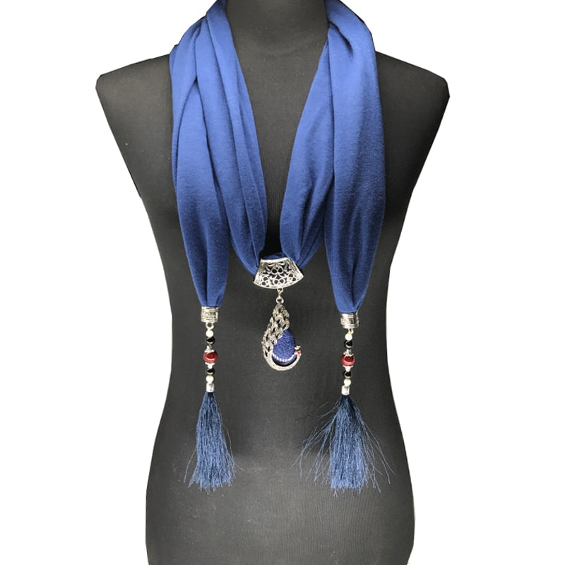 Pendant Necklace & Tassel Scarf