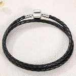 Double Braided Leather Charm Bracelets