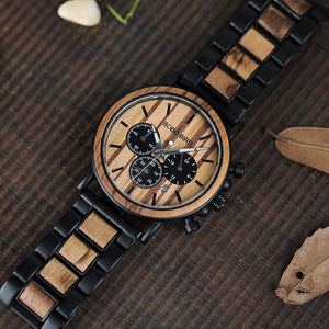 Wooden Military Chronograph with Gift Box