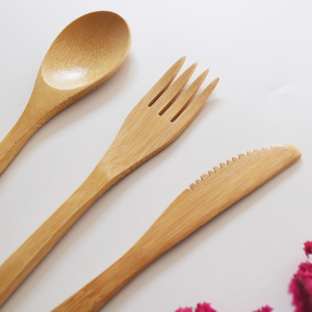 Bamboo Cutlery Set with FREE pouch