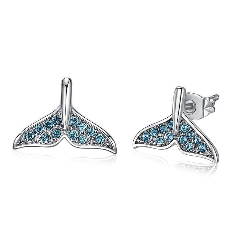 Bejeweled Mermaid Tail Stud Earrings