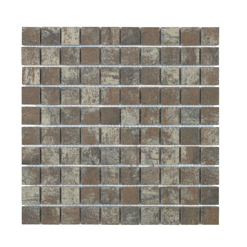 Iron Rust Mosaic Square Semipolerad 28x28 mm