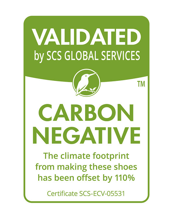 Validated by SCS Glogal Services. Carbon Negative. The climate footprint from making these shoes has been offset by 100%.