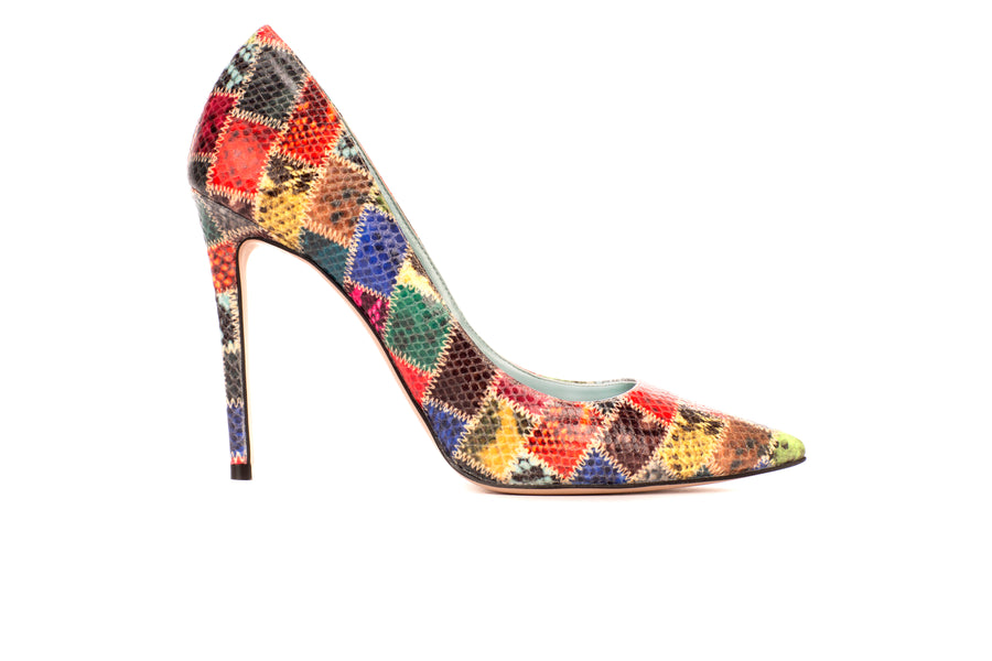 Amelia Patchwork Python-Effect Vegan Pump